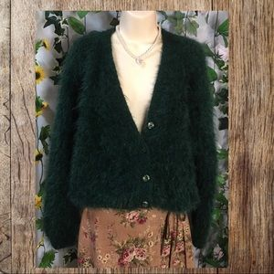 Fluffy bottle green hand knitted cardigan